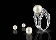 Ring with pearl and diamond Royalty Free Stock Photo