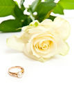 Ring with pearl and rose Royalty Free Stock Photos