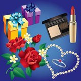 Ring, pearls, flowers, boxes and cosmetics. Stock Image