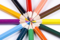 Ring of pencils. A ring of brightly coloured pencils royalty free stock image