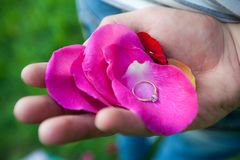 Ring on the petals in hand stock photography