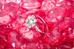 Ring and the pink crystal diamond Stock Photography