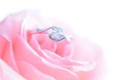 Ring with pink flower Royalty Free Stock Image