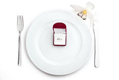Ring in plate Stock Images