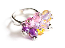 Ring with precious stones Stock Images