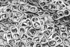Ring pull aluminum of cans, background.  stock images