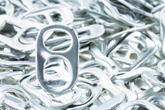 Ring pull aluminum of cans. On white background royalty free stock photo