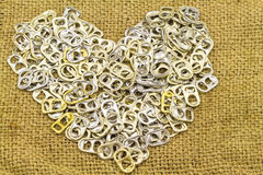 Ring pull aluminum of cans stack as heart shape indicate of new Royalty Free Stock Photography