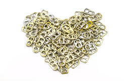 Ring pull aluminum of cans stack as heart shape indicate of new Stock Image