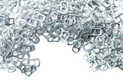 Ring pull aluminum of cans. On white background royalty free stock photos