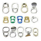 Ring pull can opener. Collection of metal ring pull for can opener isolated on white stock photography