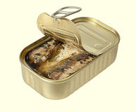 Ring-pull can of sardines in oil, isolated Stock Photography
