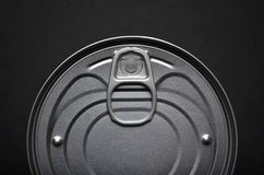 Ring pull closeup. Close up of top of tin can showing ring pull opener stock photography