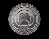 Ring pull food tin can, isolated, overhead view Stock Photo