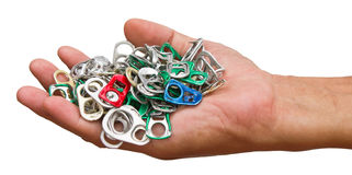 Ring pull on hand. Royalty Free Stock Images