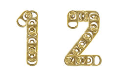 Ring pull numbers 1 2 isolated on white ba Royalty Free Stock Images