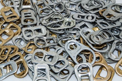 Ring pull. A pile recycling ring pull royalty free stock photography