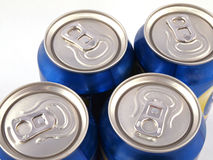Ring pulls on the tops of drink cans. Royalty Free Stock Photography