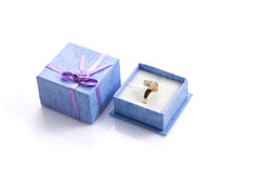 Ring in purple gift box isolated Stock Photo