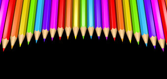 Ring of rainbow colored pencils creating a circle shape isolated over black background. 3D rendered illustration of a ring of rainbow colored pencils creating a Royalty Free Stock Images