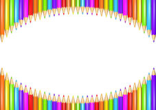 Ring of rainbow colored pencils creating a circle shape isolated over white background. 3D rendered illustration of a ring of rainbow colored pencils creating a Royalty Free Stock Photography