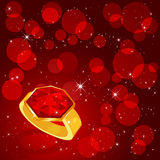 Ring on red background Stock Photos