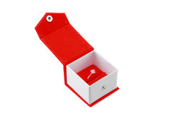 Ring in a red box. Isolated on white royalty free stock photo