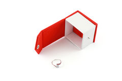 Ring by a red box. Isolated on white stock image