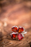 Ring with red gemstone Royalty Free Stock Image