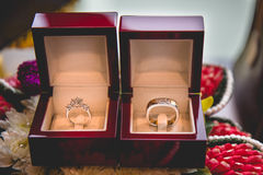 Ring and red jewellery box. In the hotel Stock Photography