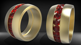 Ring with red jewels. 3D render illustration of a ring with multiple red jewels. Two different views of the same ring are isolated on a white background with Royalty Free Stock Photos