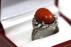 Ring with red stone Stock Images