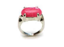 Ring with red stone  isolated on the white Stock Photo