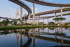Ring Road  and Bhumibol Bridge on blue sky Royalty Free Stock Image