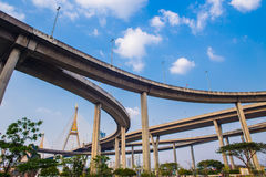 Ring Road  and Bhumibol Bridge on blue sky Royalty Free Stock Photography