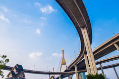 Ring Road  and Bhumibol Bridge on blue sky Royalty Free Stock Images