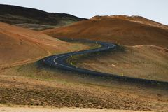 Ring road in a desert land, Iceland Royalty Free Stock Photography