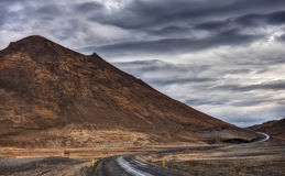 The Ring Road in Iceland Carves through Mountainous Highlands Stock Images