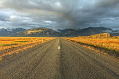 Ring road, Iceland. Late afernoon landscape of the ring road no. 1 in Iceland, in the vicinity of Hofn village. The ring road is the main route around the island Royalty Free Stock Photography