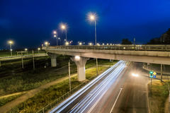 The ring road interchange in St. Petersburg at evening illuminat Stock Photos