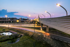 The ring road interchange in St. Petersburg at evening illuminat Stock Photography