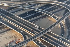 Ring road junction in Dubai city. UAE. View from the lookout Burj Khalifa. Top view stock photography