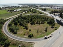 Ring road in Russian Federation. Ring road in Russian Federation from the height. Krasnodar region stock image