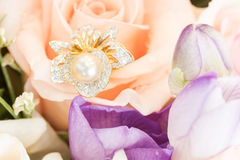 Ring on rose Royalty Free Stock Images