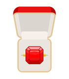 Ring with Ruby. Open box for jewelry. Illustration for betrothal. Wedding ring. Vector illustration of top view Royalty Free Stock Photo