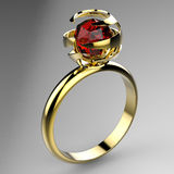 Ring with ruby Stock Photo