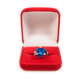 Ring with sapphire crystal in red box Stock Photos