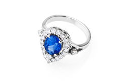 Ring with sapphire and diamonds Stock Photo