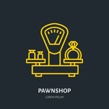 Ring on scales in pawnshop illustration. Jewelry flat line icon, pawn shop logo. Jewels buying sign Royalty Free Stock Photo