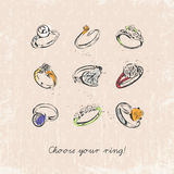 Ring set with precious stones. Vintage style. Sketch. Design for T-shirts. Royalty Free Stock Images